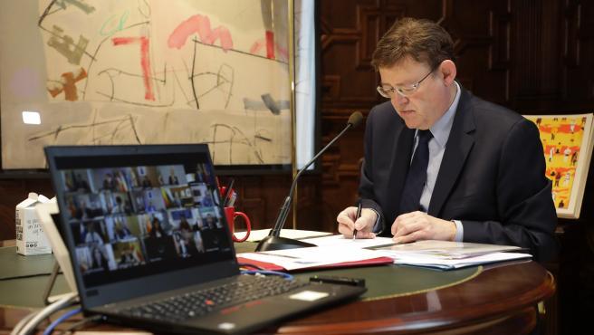 Puig durante la videoconferencia de presidentes