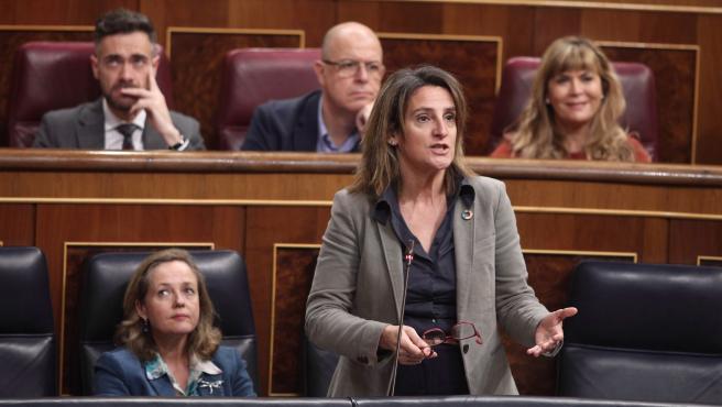 Teresa Ribera interviniendo en una sesión plenaria en el Congreso de los Diputados.