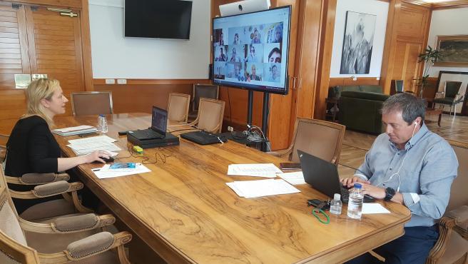 Reunión telemática de Marta Gastón y Luis Lanapas con los nueve clústers aragoneses.
