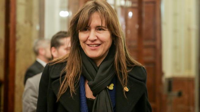 La portavoz de Junts Per Catalunya en el Congreso, Laura Borràs, en los pasillos de la Cámara Baja en una imagen de archivo.