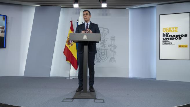 Pedro Sánchez compareciendo en el Palacio de la Moncloa.