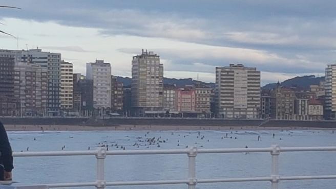 Surfistas haciendo deporte en Gijón el primer día que se permite.