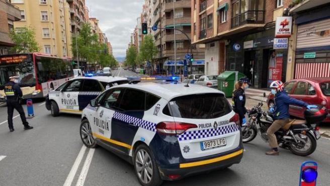 Control policial en Logroño.