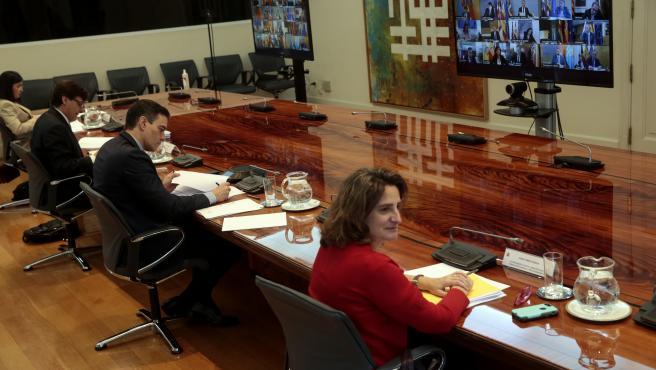 El presidente del Gobierno, Pedro Sánchez, durante la octava reunión por videoconferencia con los presidentes de las comunidades y ciudades autónomas.