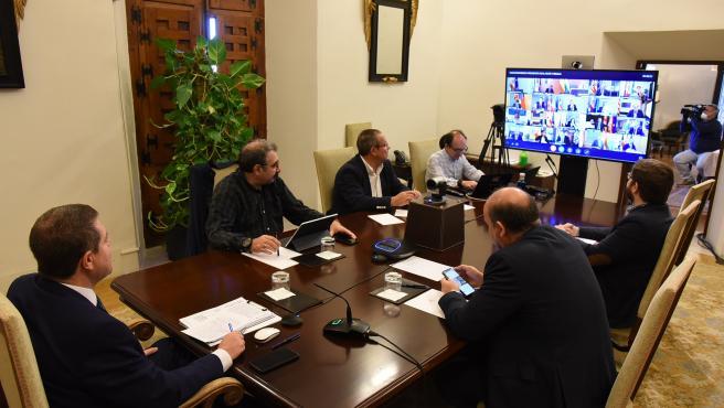 Reunión de presidentes autonómicos con Pedro Sánchez, desde el Palacio de Fuensalida de Toledo