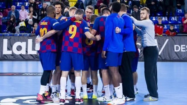 Los jugadores del Barça de balonmano.