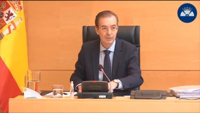 El consejero de Empleo e Industria de Castilla y León, Germán Barrios, en su comparecencia en las Cortes para explicar las medidas ante la COVID-19.
