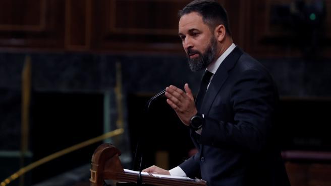 El líder de Vox, Santiago Abascal durante su intervención en el pleno del Congreso.