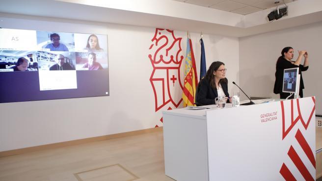 Oltra, en imagen de archivo en una rueda de prensa telemática tras el pleno del Consell