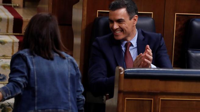Sánchez durante el pleno del Congreso este miércoles