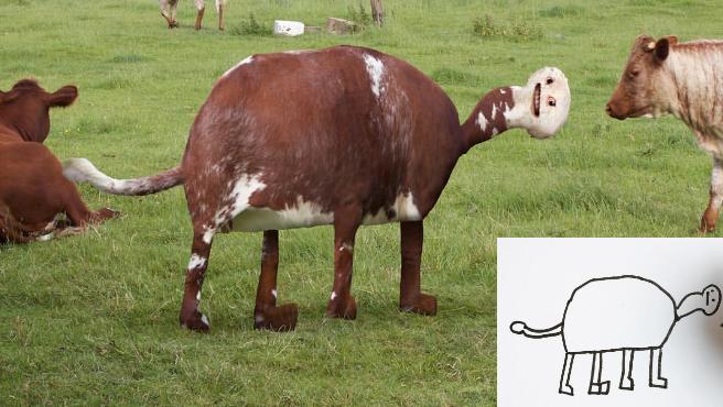 Una vaca realista basada en el dibujo de un niño.