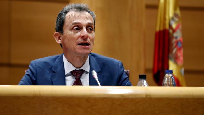 El ministro de Ciencia e Innovación, Pedro Duque (C), comparece en la Comisión de Ciencia, Innovación y Universidades del Senado para informar sobre las líneas generales de su departamento y las actuaciones relacionadas con la crisis sanitaria, este jueves, en Madrid.