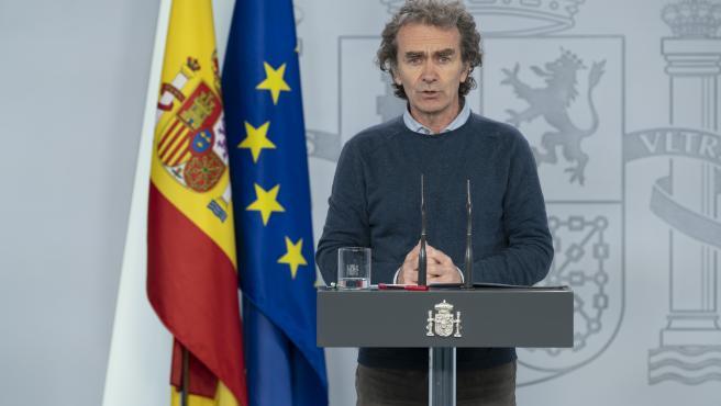 El director del Centro de Coordinación de Alertas y Emergencias Sanitarias del Ministerio de Sanidad, Fernando Simón, en rueda de prensa para informar de la evolución de la COVID-19.