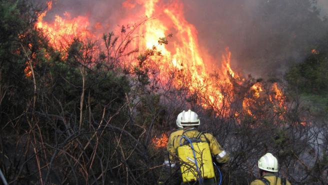 Imagen de archivo de un incendio registrado en Baztan