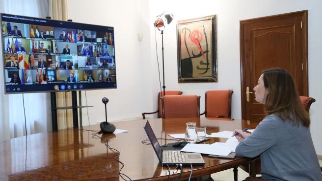 La presidenta del Govern, Francina Armengol, participa en la novena reunión del presidente del Gobierno, Pedro Sánchez, con los presidentes autonómicos.