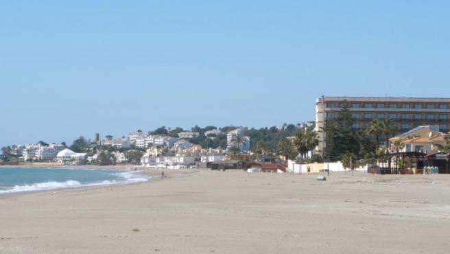 Playa de La Cala de Mijas durante el confinamiento