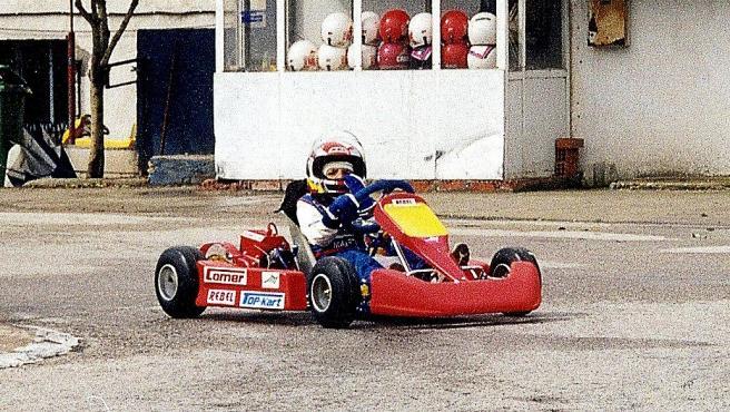 Carlos Sainz, con un kart