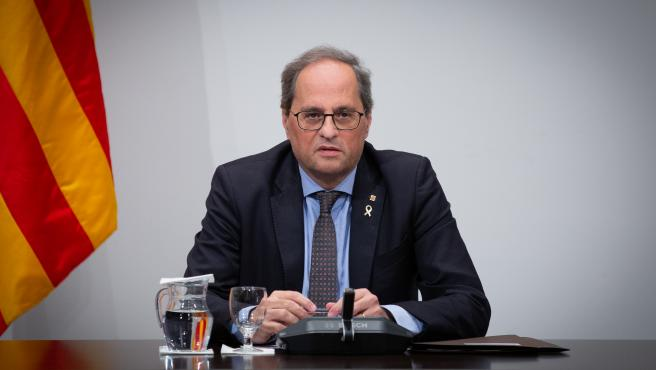 El presidente de la Generalitat, Quim Torra, preside una reunión extraordinaria del Consell Executiu para analizar la evolución del coronavirus, en Barcelona/Catalunya (España) a 12 de marzo de 2020.