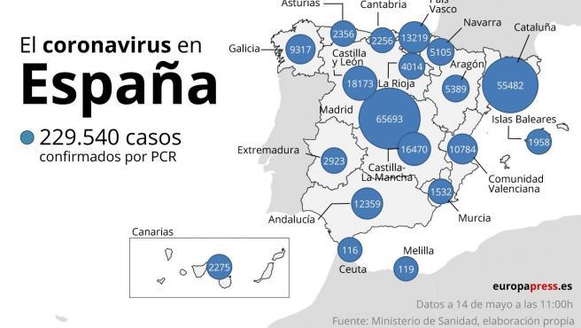 Mapa con casos de coronavirus en España a 14 de mayo a las 11:00