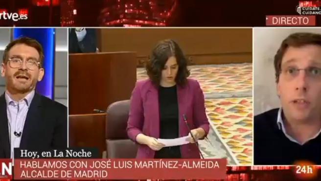 El alcalde de Madrid, José Luis Martínez Almeida, en una entrevista en el canal 24 horas.