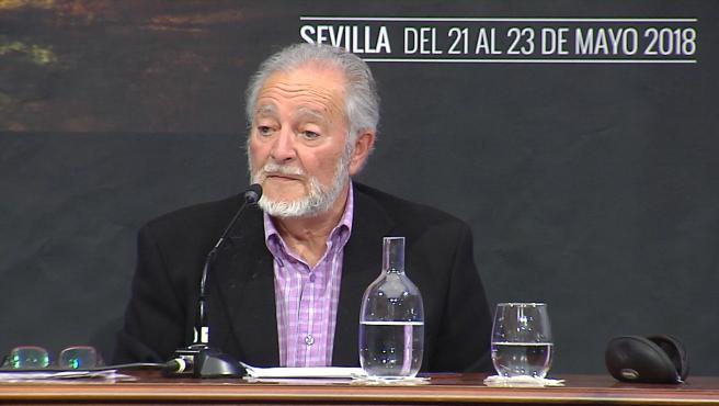 El que fuera dirigente de Izquierda Unida, Julio Anguita durante una conferencia en Sevilla el pasado 22 de Mayo de 2018