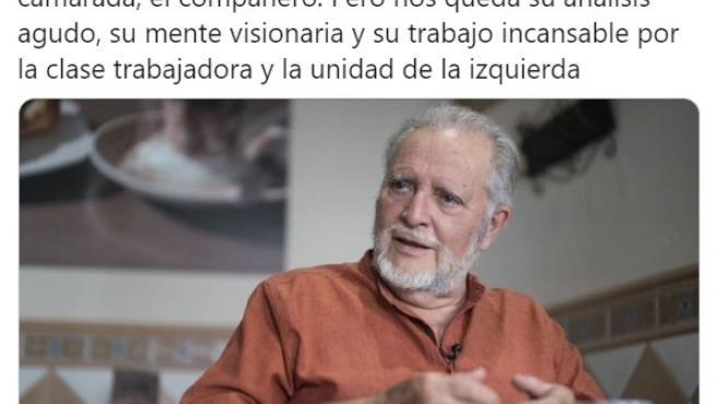 Publicación de Izquierda Unida Aragón por la muerte de Julio Anguita