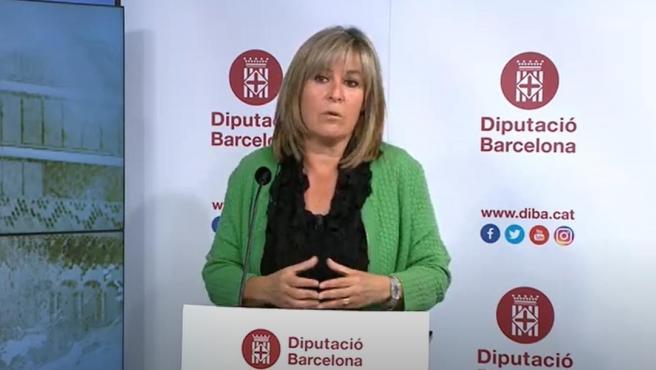 La presidenta de la Diputación de Barcelona, Núria Marín, en rueda de prensa telemática para presentar el nuevo plan de reactivación socioeconómica de los municipios.