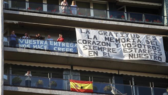 Aplausos a los sanitarios en Madrid, el 17 de mayo de 2020.