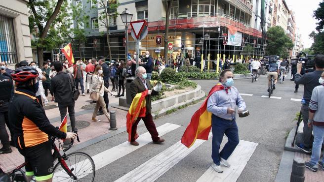 Protestas contra el Gobierno en el madrileño barrio de Salamanca.