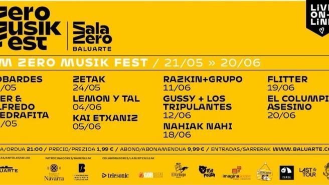 Cartel del festival de música 'Km Zero Musik Fest', organizado por el Baluarte de Pamplona.