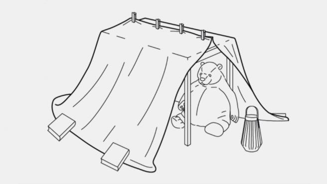 Instrucciones para hacerse una tienda de campaña con objetos de Ikea.