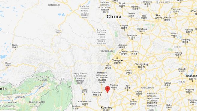 Lugar donde se ha producido el terremoto en China.
