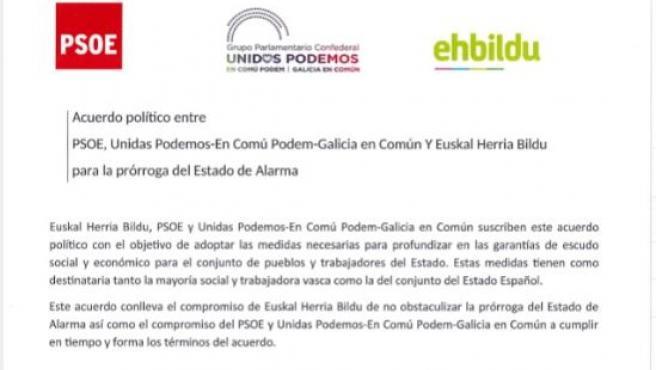 Acuerdo de Bildu, Poldemos y PSOE