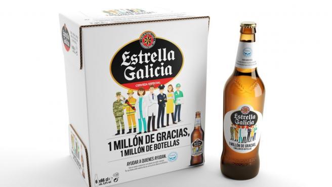 Nuevo envase de Estrella Galicia en homenaje a los profesionales de la pandemia. Fuente: 20 Minutos