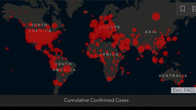 Mapa del coronavirus de la Universidad Johns Hopkins