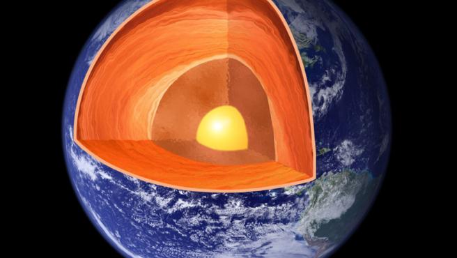 El núcleo de la Tierra tiene un radio de cerca de 3.500 Km y representa el 32% de la masa total del planeta.