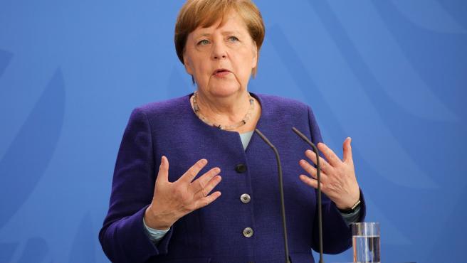 Angela Merkel, en una rueda de prensa desde Berlín.