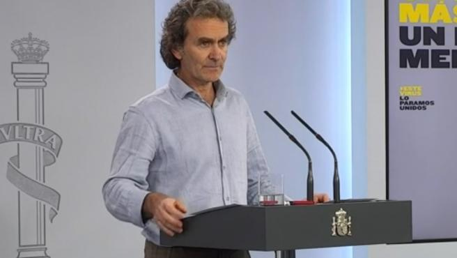 El director del CCAES, Fernando Simón, en rueda de prensa este viernes.
