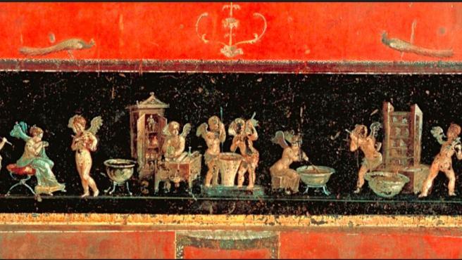 Fresco pompeyano donde se refleja las partes del proceso de producción de perfumes.
