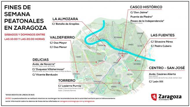 Mapa de las ocho grandes zonas peatonales de Zaragoza para los paseos en confinamiento