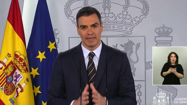 El presidente del Gobierno, Pedro Sánchez, durante la comparecencia de este sábado.