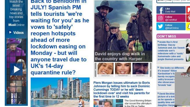 Imagen del 'Daily Mail' con la noticia de la reapertura al turismo de España.