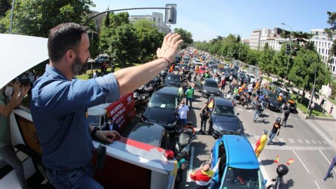 Santiago Abascal en la manifestación convocada por Vox este sábado.