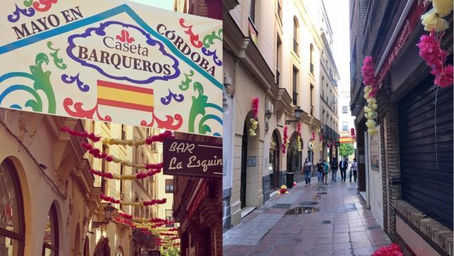 Actos vandálicos en las calles del centro de Córdoba contra la decoración que los comerciantes han realizado con motivo del Mayo cordobés.
