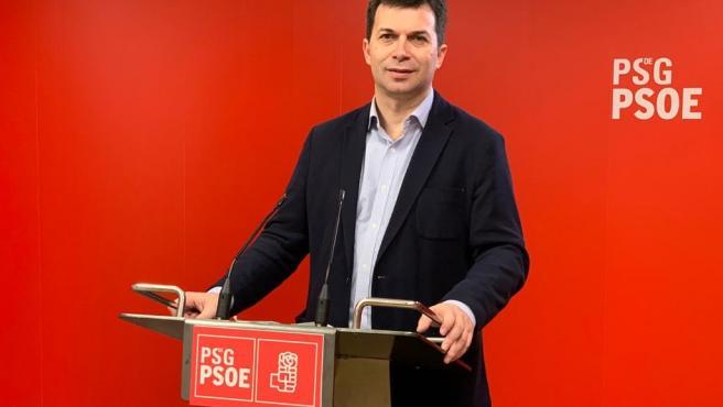 El secretario xeral del PSdeG, Gonzalo Caballero, en rueda de prensa este viernes 22 de mayo