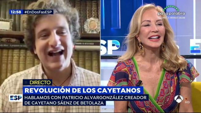 Cayetano de Betolaza, parodia de 'los Cayetanos, y Carmen Lomana en 'EP'.