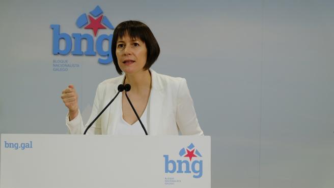 La portavoz nacional del BNG, Ana Pontón, en rueda de prensa este 19 de mayo, tras convocarse las elecciones autonómicas para el 12 de julio
