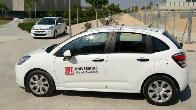 Coches autónomos en el campus de la UMH en Elche.