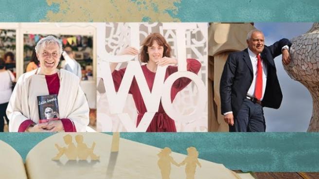 rene Vallejo, Nuccio Ordine y Emilio del Río, en la actividad de Fundación Ibercaja.