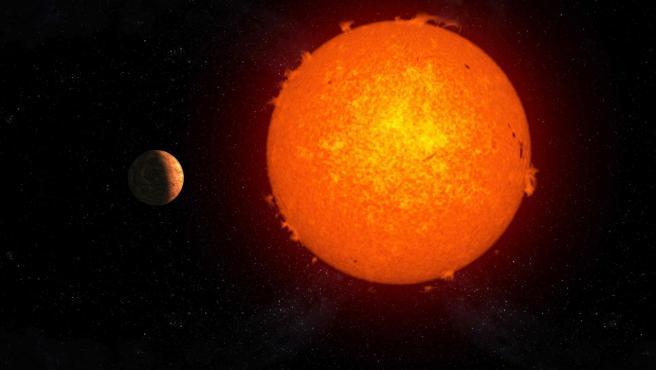 Representación artística del exoplaneta rocoso Próxima b orbitando su estrella, Próxima Centauri.